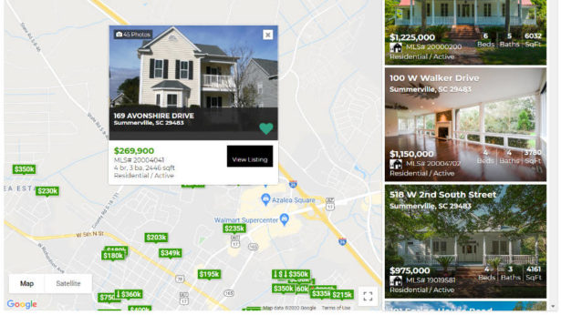 MLS Map Search Real Estate Websites Charleston