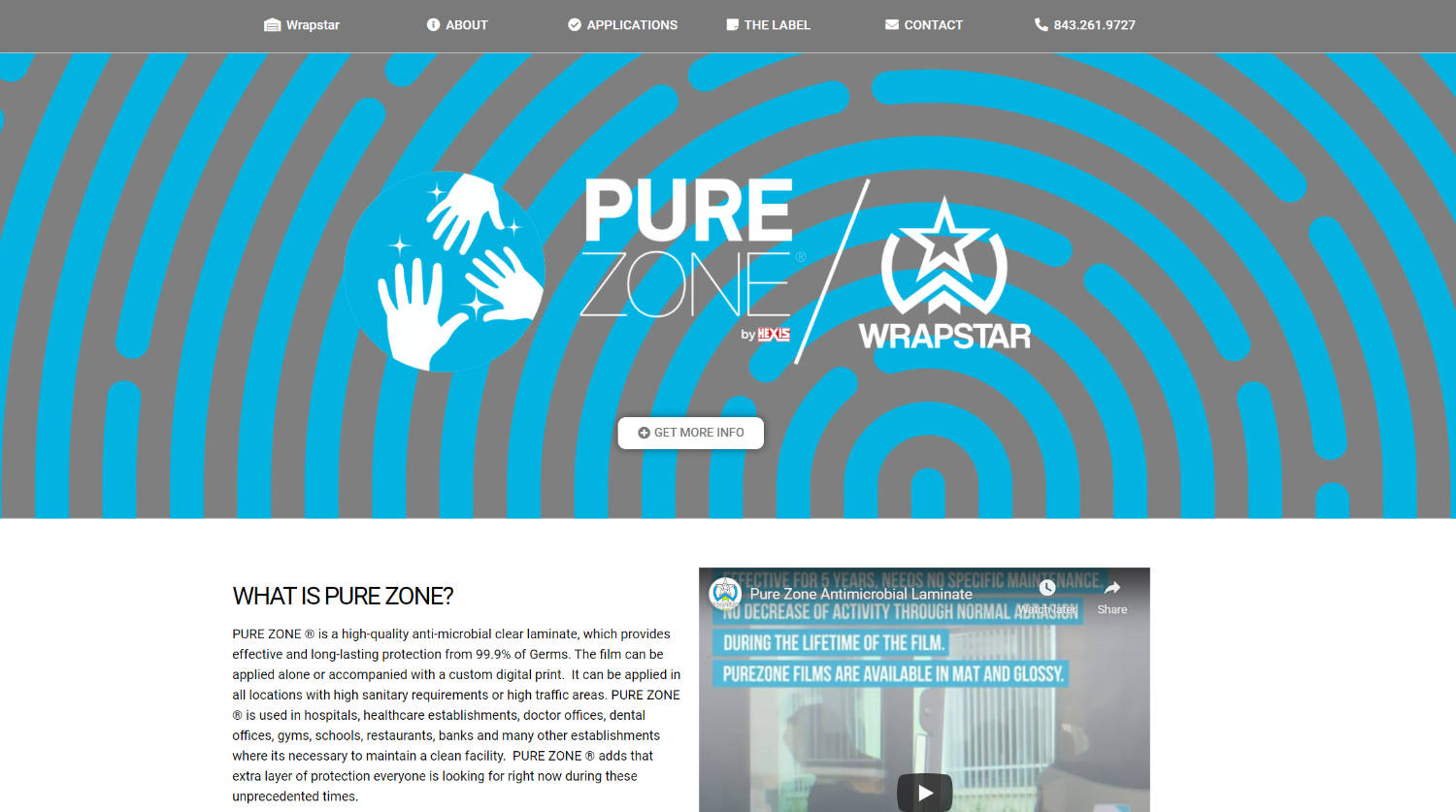 Pure Zone antimicrobial protection film Charleston Wrapstar